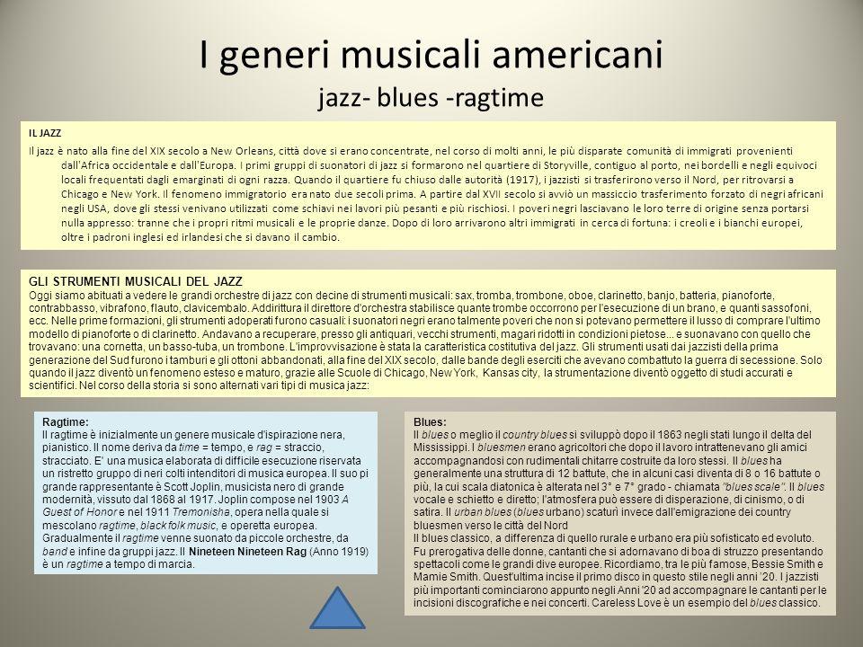 I generi musicali americani jazz- blues -ragtime