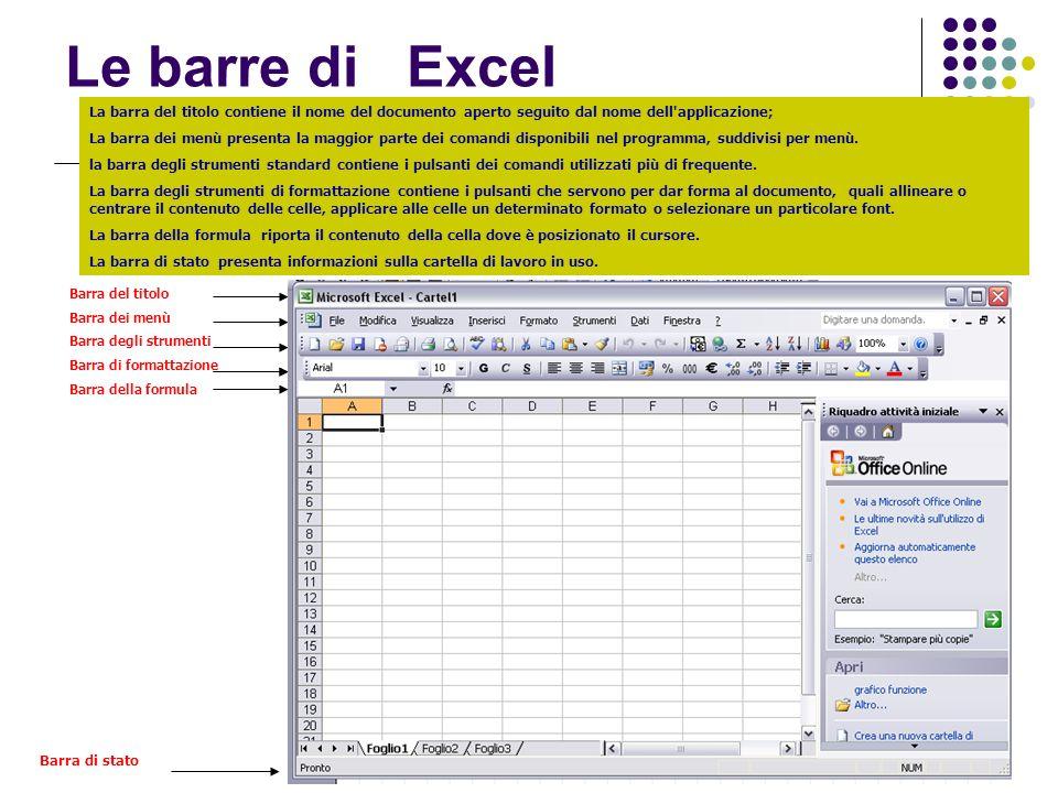 Le barre di ExcelLa barra del titolo contiene il nome del documento aperto seguito dal nome dell applicazione;