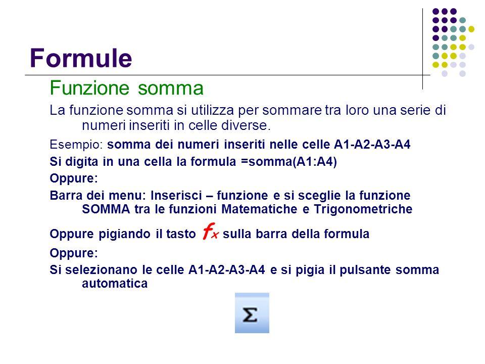 Formule Funzione somma