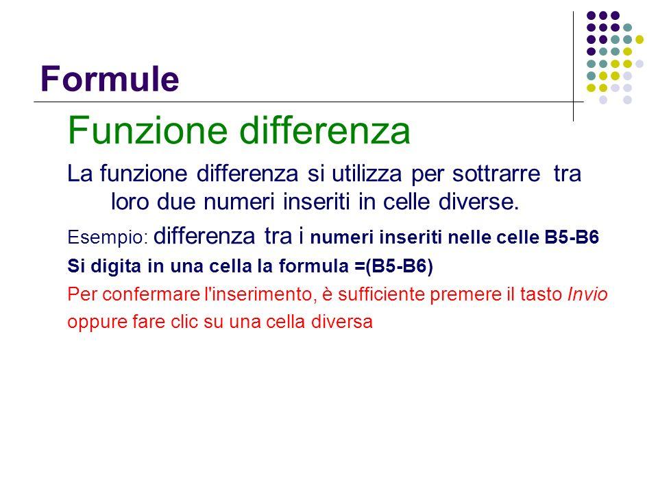 Funzione differenza Formule