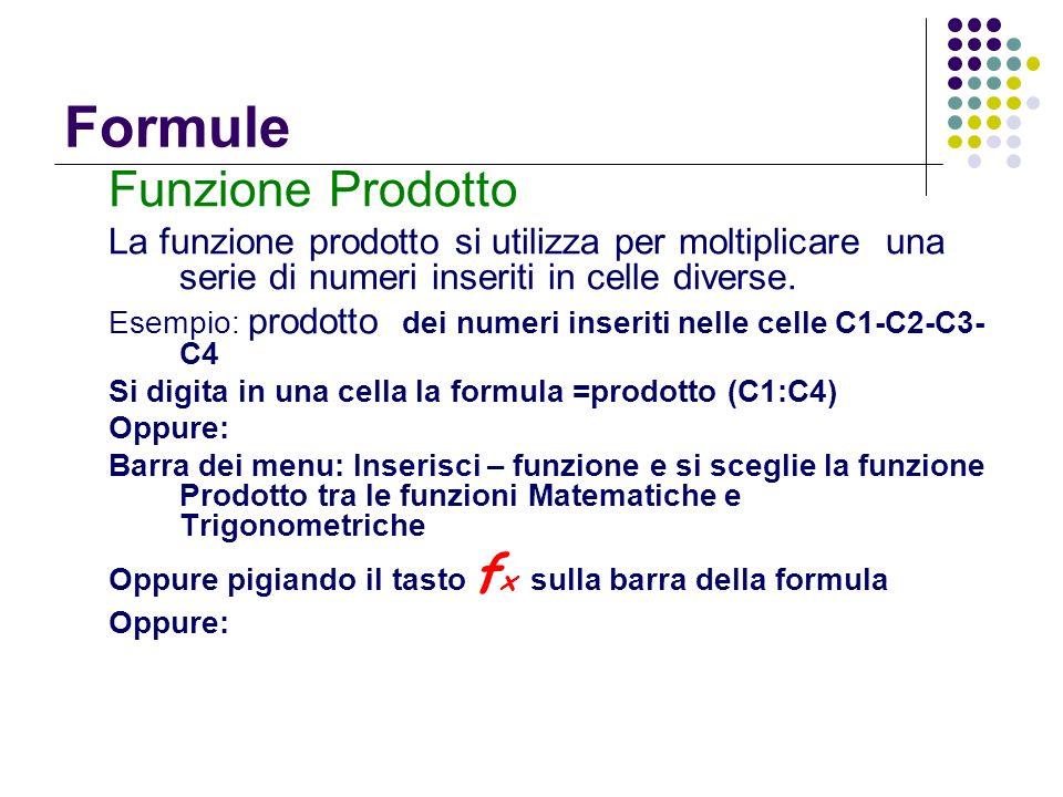 Formule Funzione Prodotto