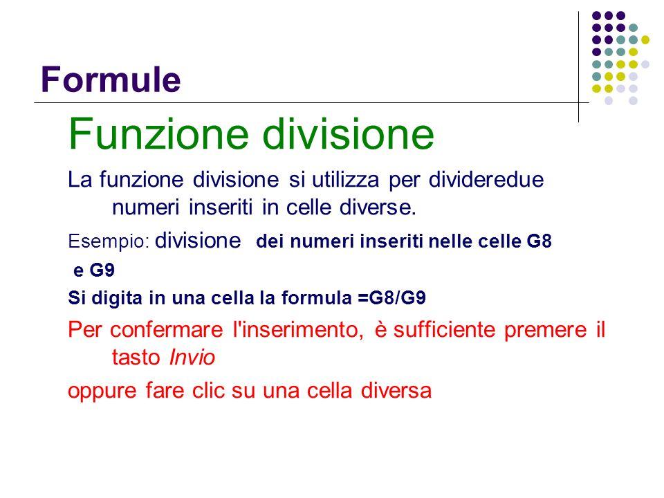 Funzione divisione Formule