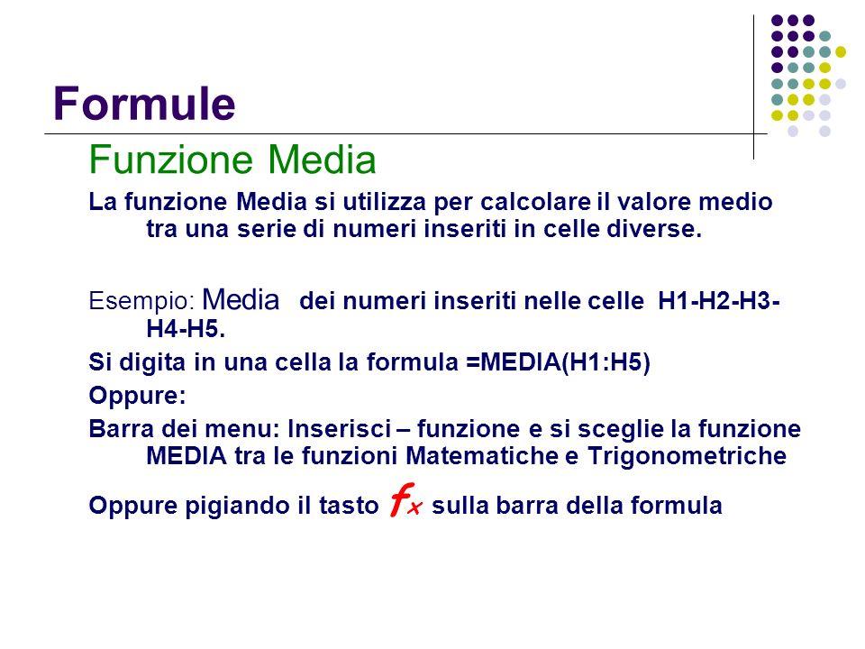 Formule Funzione Media