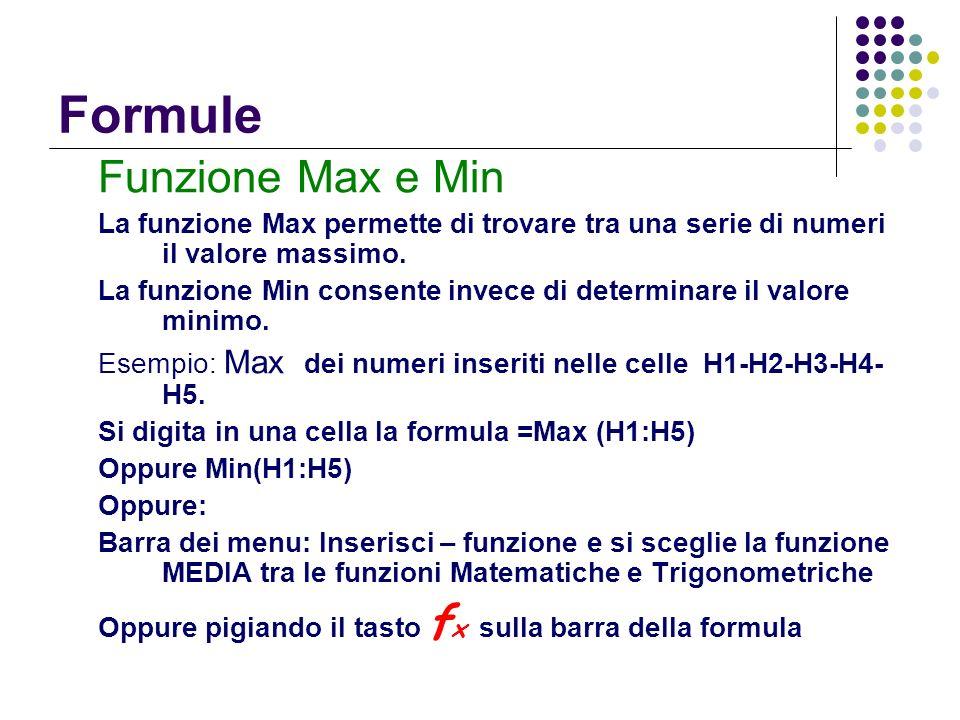Formule Funzione Max e Min