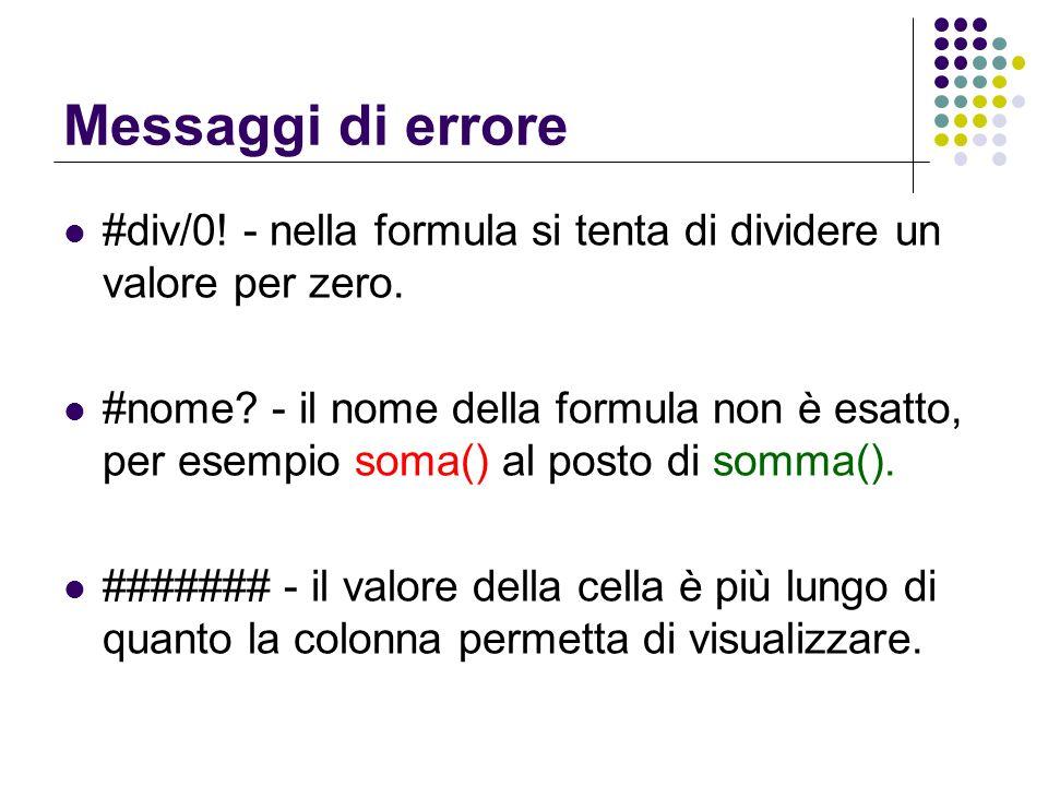 Messaggi di errore #div/0! - nella formula si tenta di dividere un valore per zero.