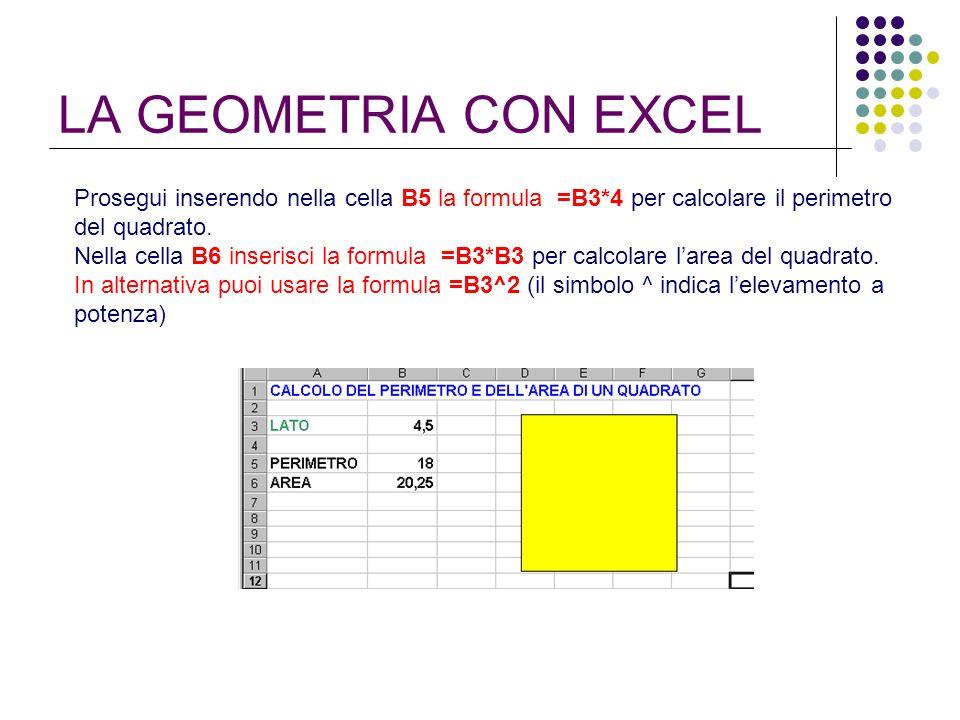 LA GEOMETRIA CON EXCEL Prosegui inserendo nella cella B5 la formula =B3*4 per calcolare il perimetro del quadrato.