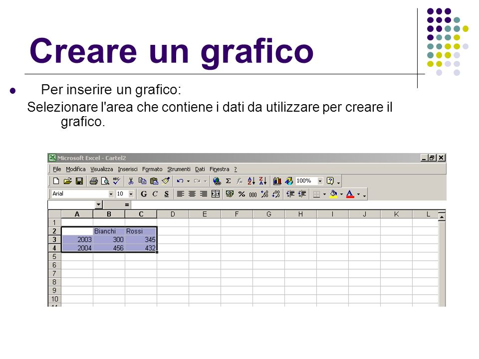 Creare un grafico Per inserire un grafico: