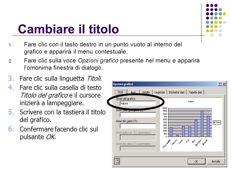 Cambiare il titolo Fare clic sulla linguetta Titoli.
