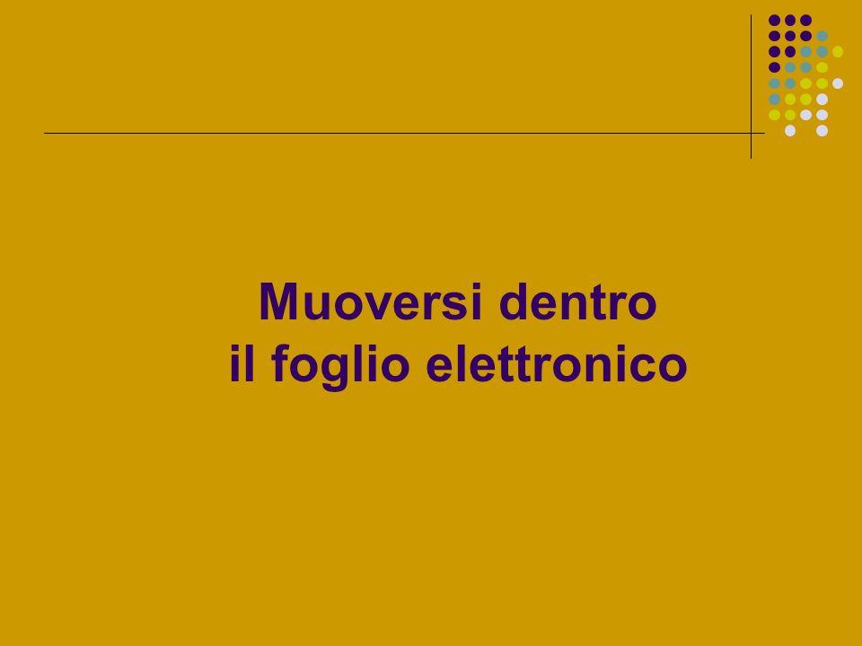 Muoversi dentro il foglio elettronico