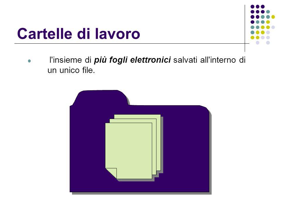 Cartelle di lavoro l insieme di più fogli elettronici salvati all interno di un unico file.