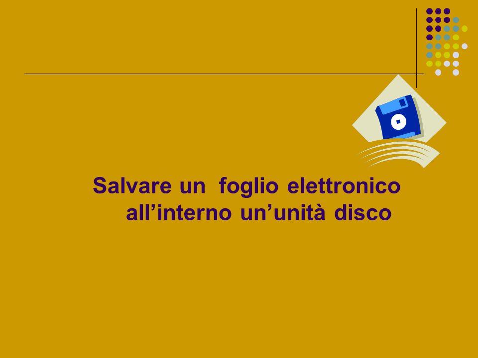 Salvare un foglio elettronico all'interno un'unità disco