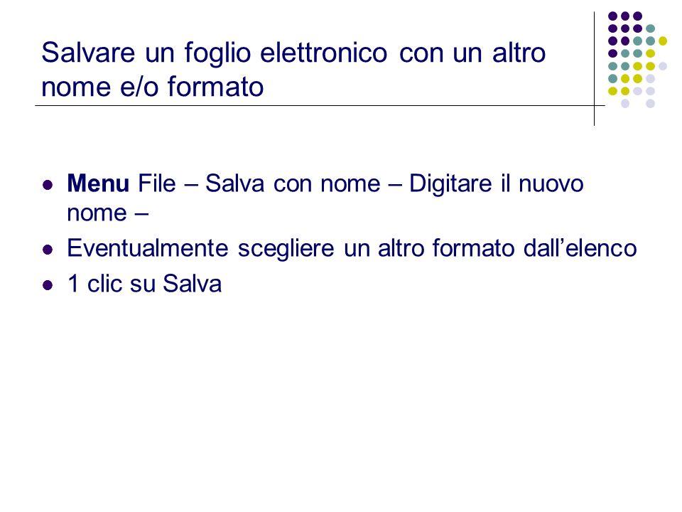 Salvare un foglio elettronico con un altro nome e/o formato