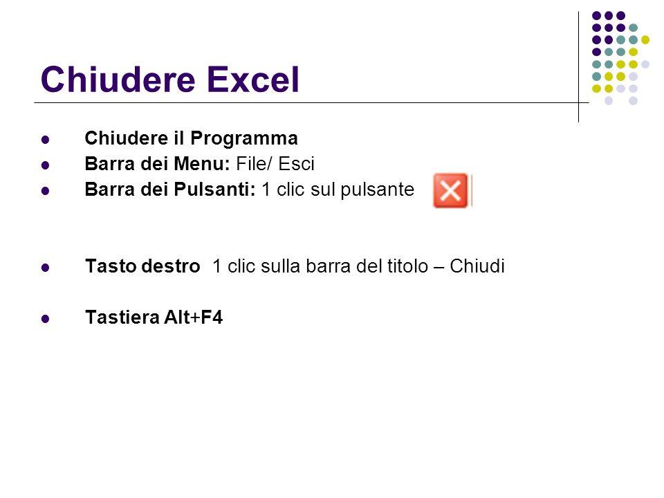 Chiudere Excel Chiudere il Programma Barra dei Menu: File/ Esci