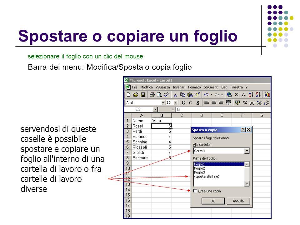 Spostare o copiare un foglio