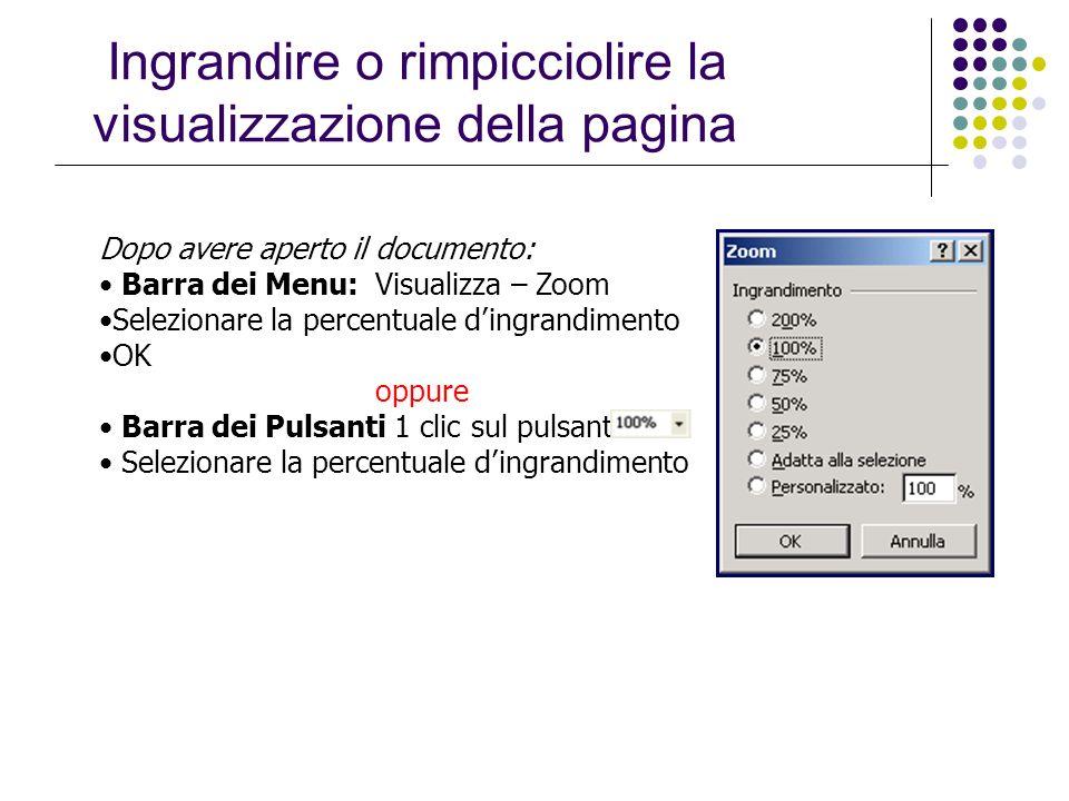 Ingrandire o rimpicciolire la visualizzazione della pagina