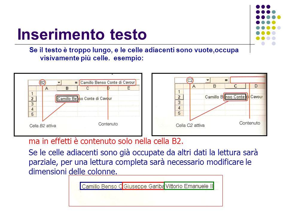 Inserimento testo ma in effetti è contenuto solo nella cella B2.