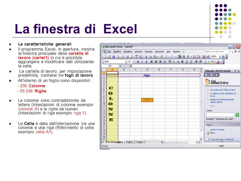 La finestra di Excel Le caratteristiche generali