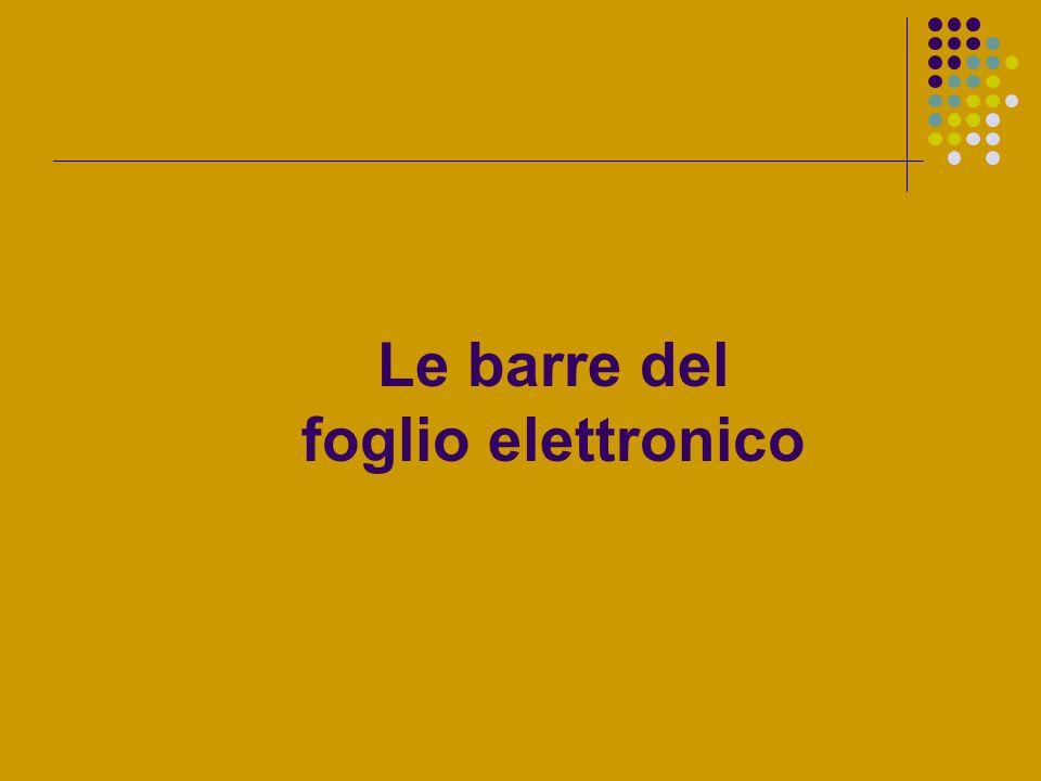 Le barre del foglio elettronico