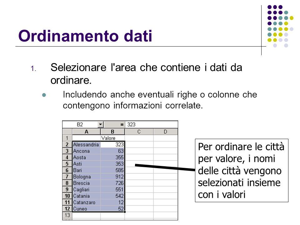 Ordinamento dati Selezionare l area che contiene i dati da ordinare.