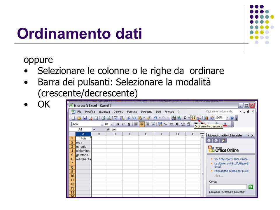 Ordinamento dati oppure Selezionare le colonne o le righe da ordinare