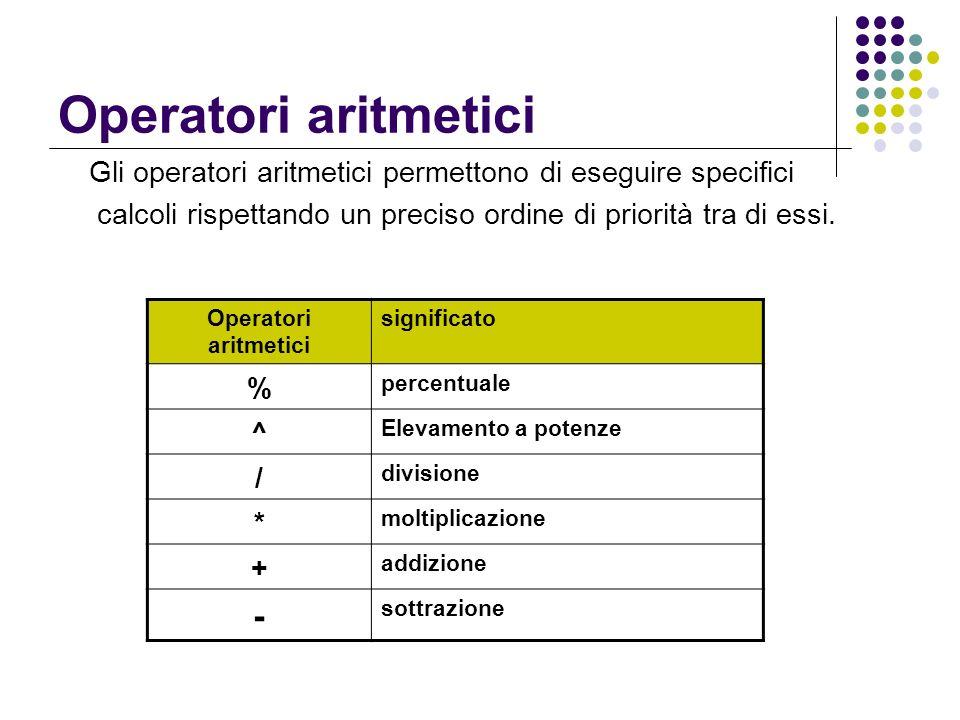 Operatori aritmetici -