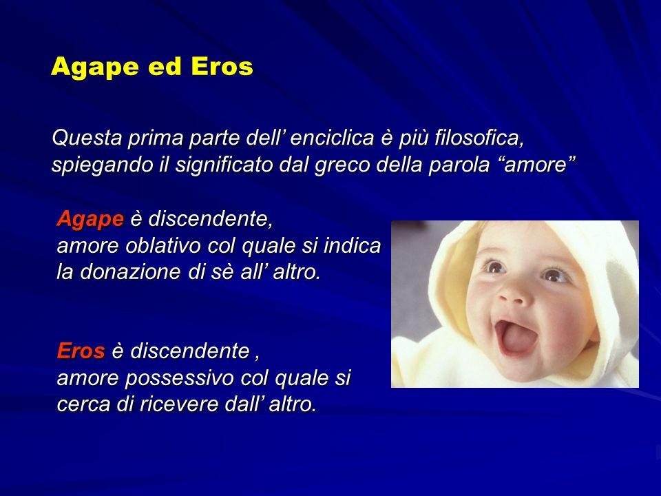 Agape ed Eros Questa prima parte dell' enciclica è più filosofica, spiegando il significato dal greco della parola amore