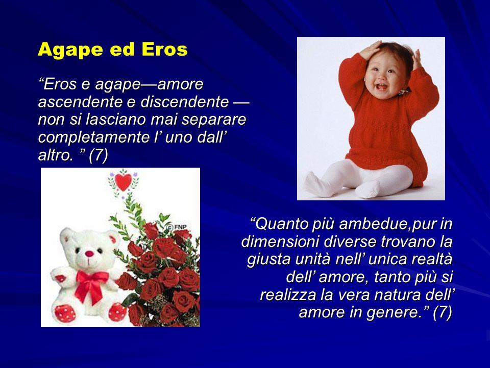 Agape ed Eros Eros e agape—amore ascendente e discendente —non si lasciano mai separare completamente l' uno dall' altro. (7)