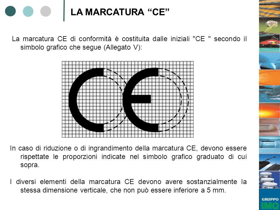 LA MARCATURA CE La marcatura CE di conformità è costituita dalle iniziali CE secondo il simbolo grafico che segue (Allegato V):