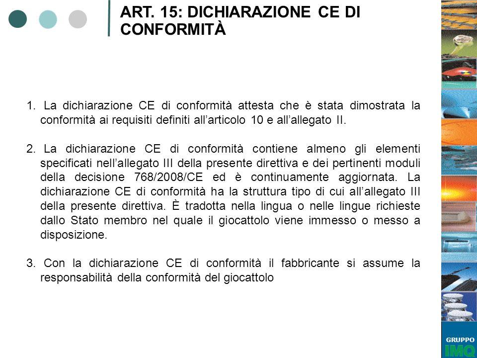 ART. 15: DICHIARAZIONE CE DI CONFORMITÀ