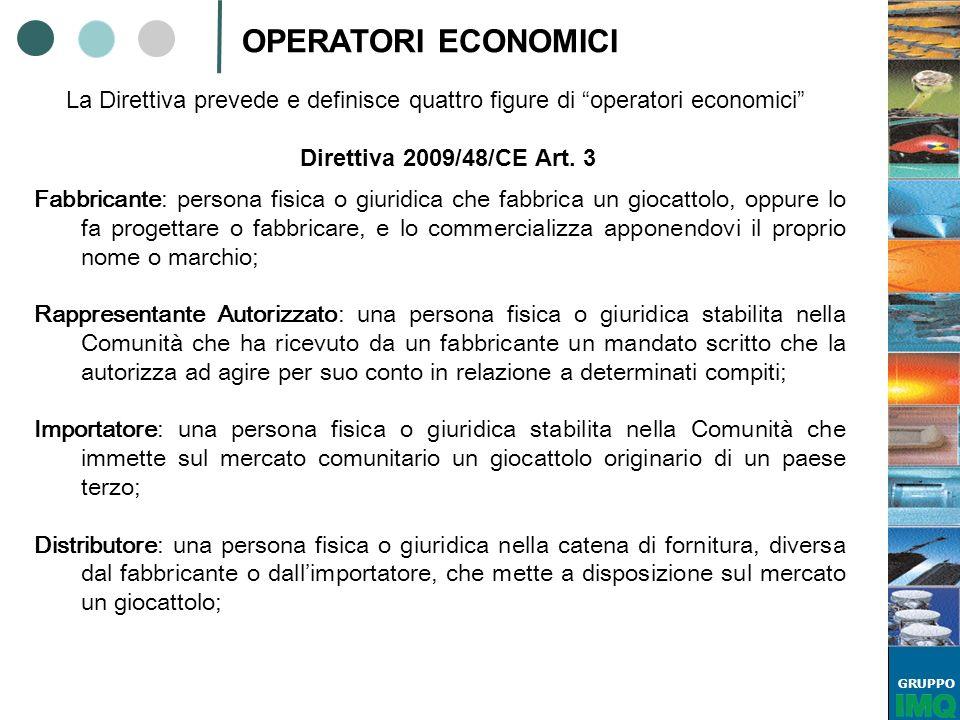 OPERATORI ECONOMICI La Direttiva prevede e definisce quattro figure di operatori economici Direttiva 2009/48/CE Art. 3.