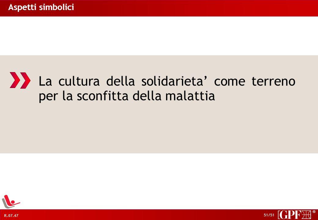 Aspetti simbolici La cultura della solidarieta' come terreno per la sconfitta della malattia