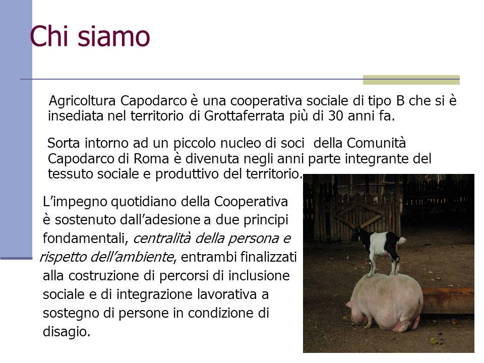 Chi siamo Agricoltura Capodarco è una cooperativa sociale di tipo B che si è insediata nel territorio di Grottaferrata più di 30 anni fa.