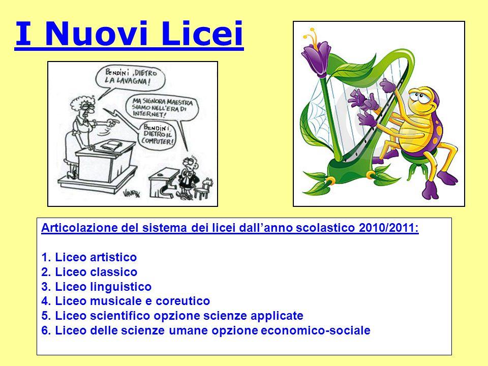 I Nuovi Licei Articolazione del sistema dei licei dall'anno scolastico 2010/2011: 1. Liceo artistico.