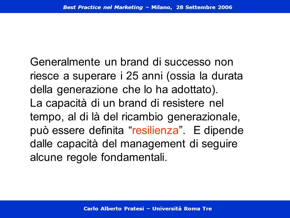 Best Practice nel Marketing – Milano, 28 Settembre 2006