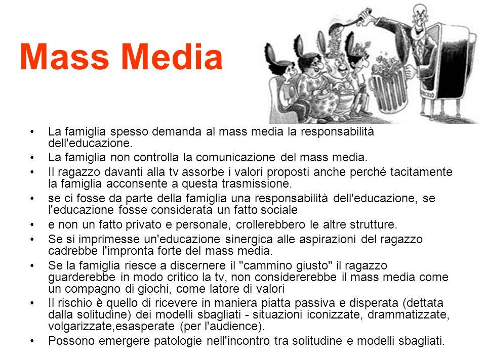 Mass Media La famiglia spesso demanda al mass media la responsabilità dell educazione. La famiglia non controlla la comunicazione del mass media.