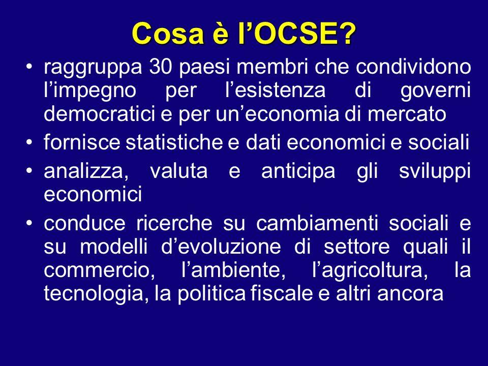 Cosa è l'OCSE raggruppa 30 paesi membri che condividono l'impegno per l'esistenza di governi democratici e per un'economia di mercato.