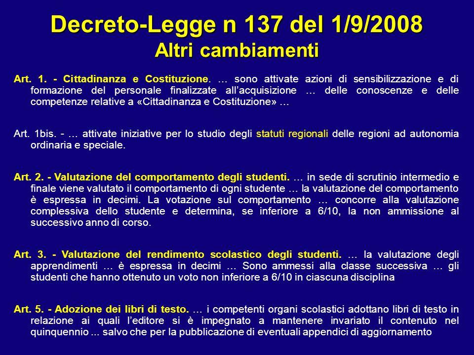 Decreto-Legge n 137 del 1/9/2008 Altri cambiamenti