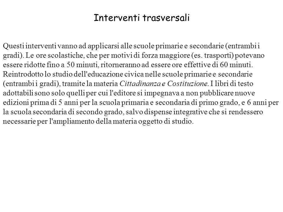 Interventi trasversali
