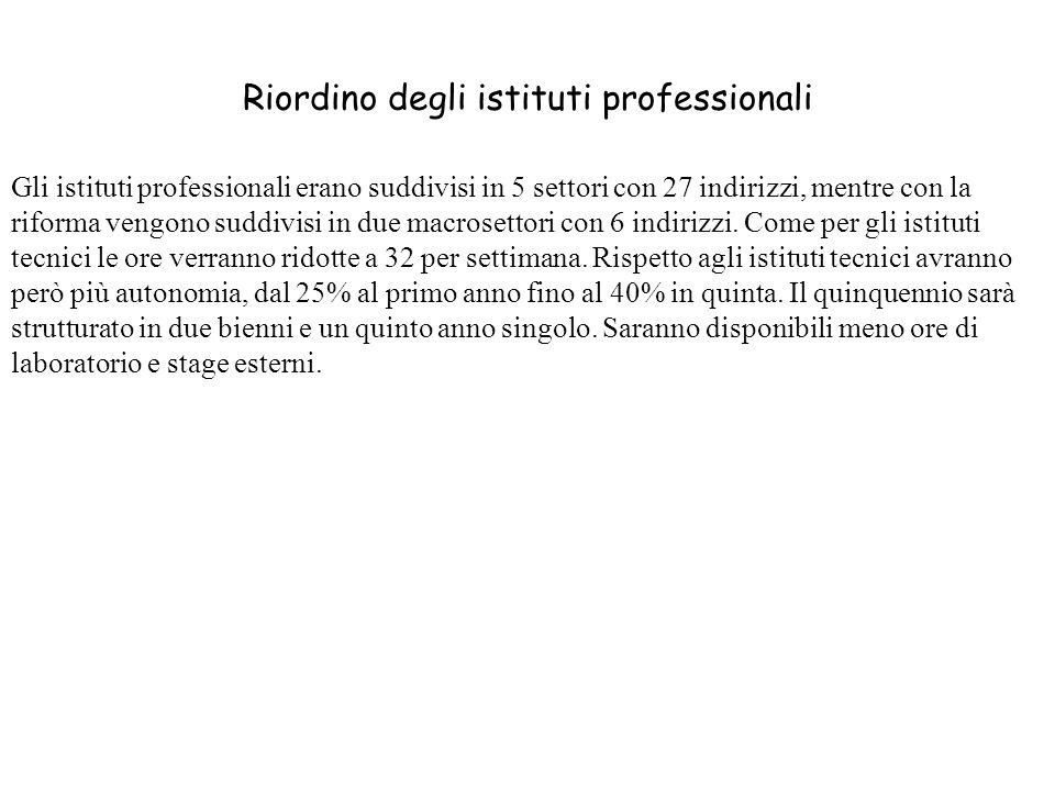 Riordino degli istituti professionali