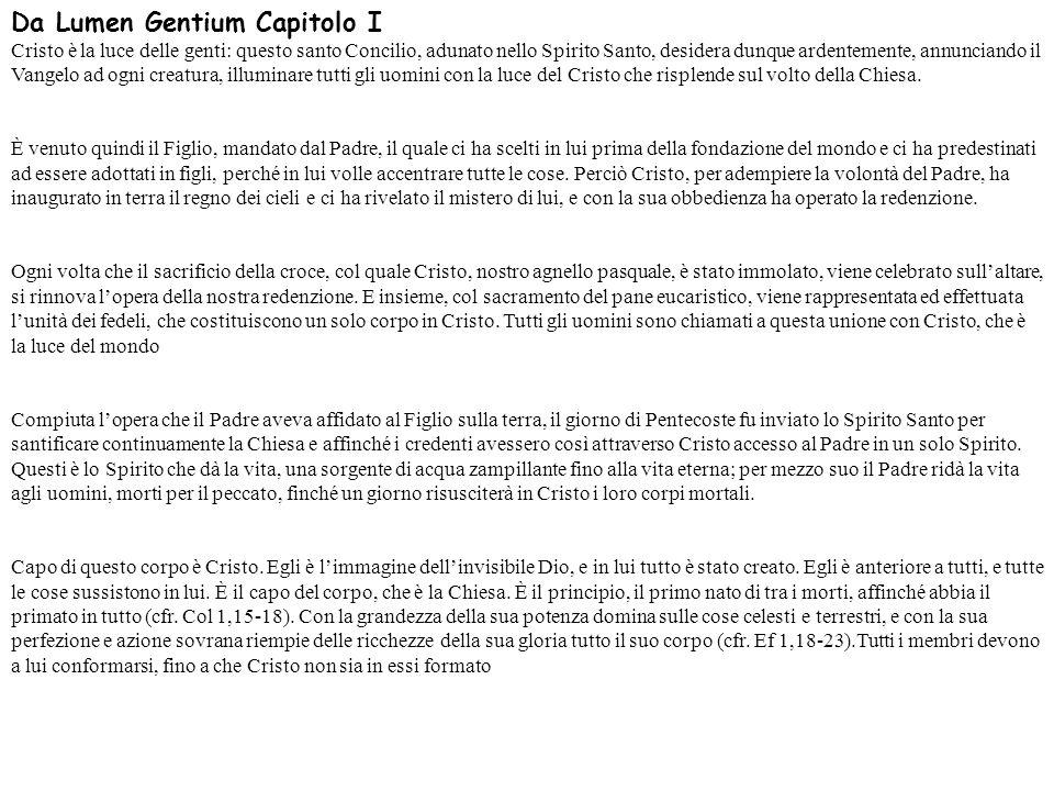Da Lumen Gentium Capitolo I