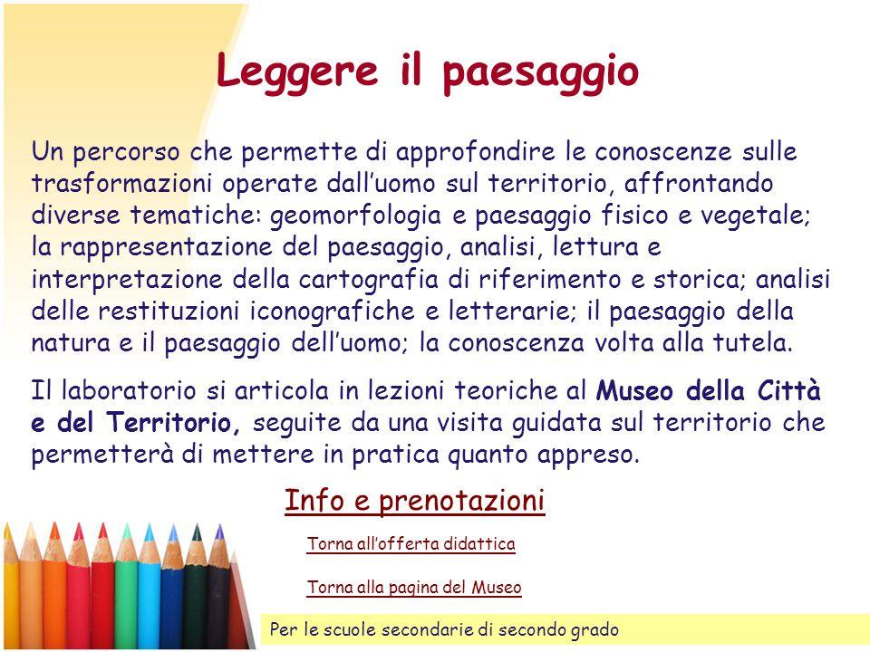 Leggere il paesaggio Info e prenotazioni