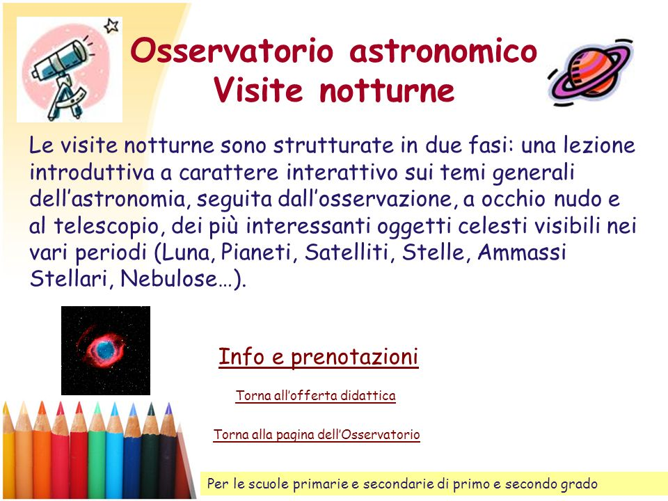 Osservatorio astronomico Visite notturne