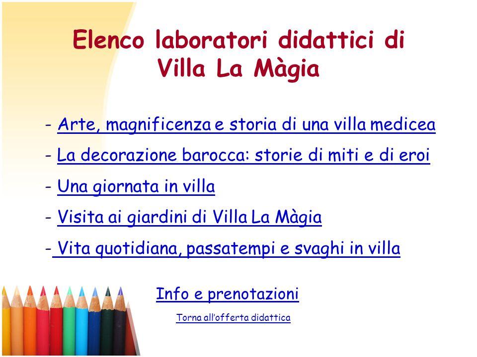 Elenco laboratori didattici di Villa La Màgia