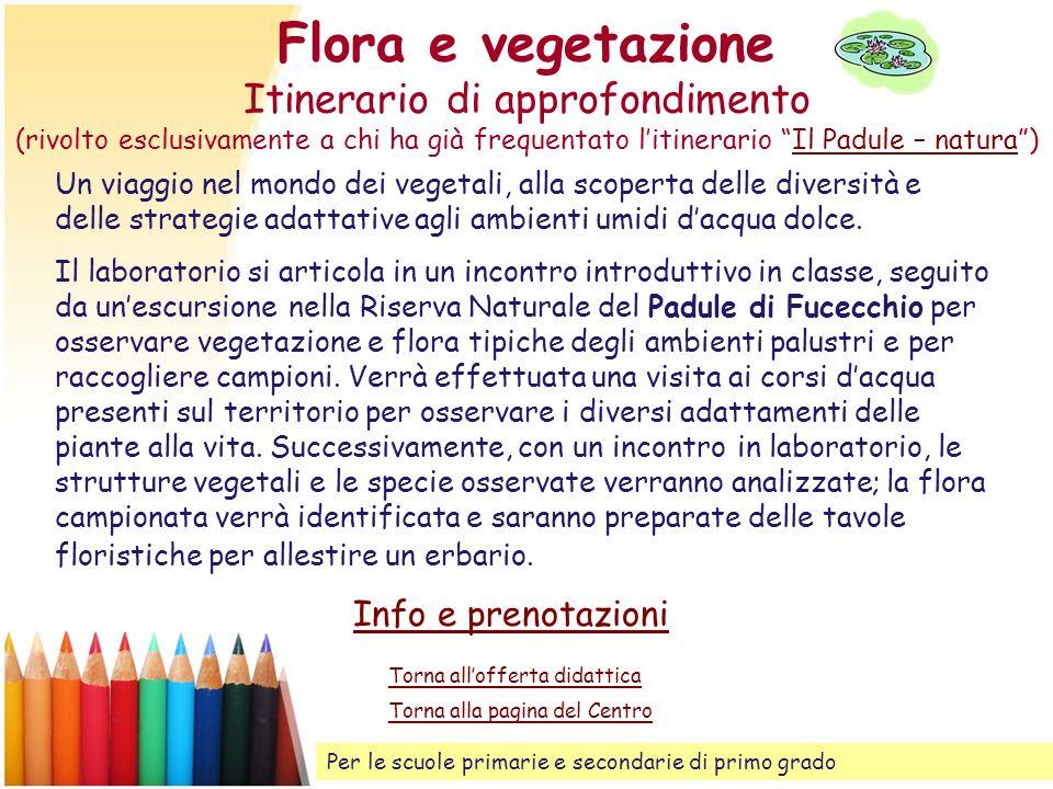 Flora e vegetazione Itinerario di approfondimento (rivolto esclusivamente a chi ha già frequentato l'itinerario Il Padule – natura )