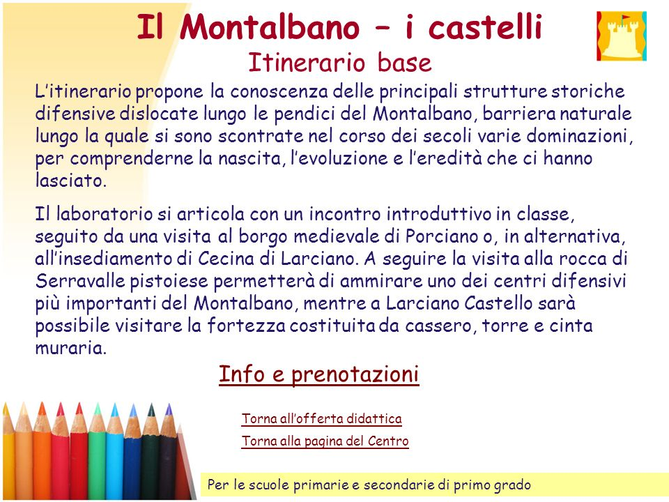Il Montalbano – i castelli Itinerario base