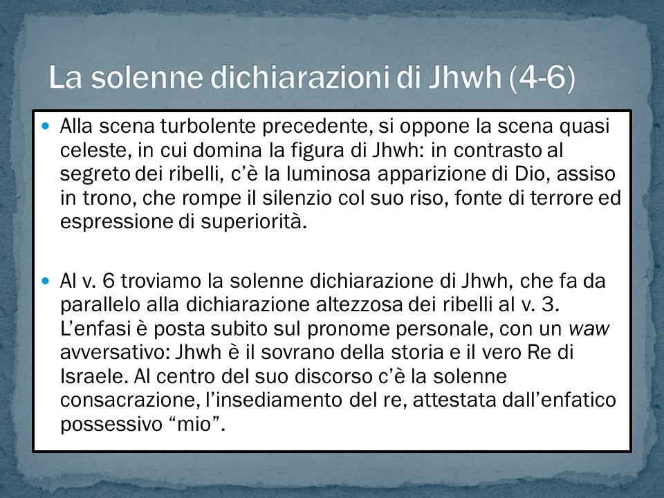 La solenne dichiarazioni di Jhwh (4-6)