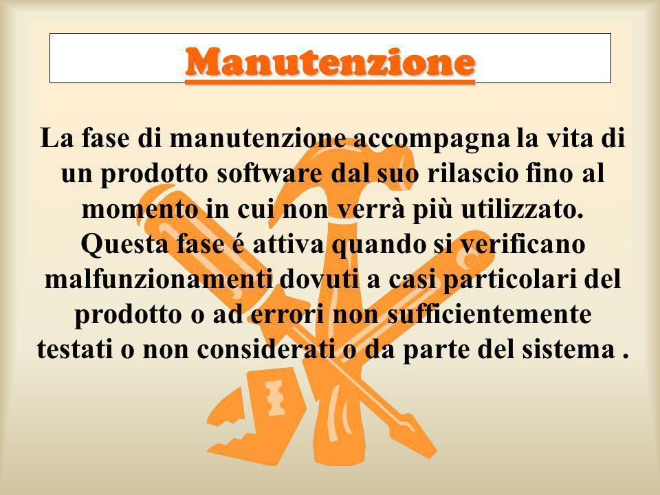 Manutenzione La fase di manutenzione accompagna la vita di un prodotto software dal suo rilascio fino al momento in cui non verrà più utilizzato.