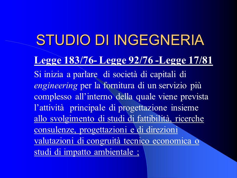 STUDIO DI INGEGNERIA Legge 183/76- Legge 92/76 -Legge 17/81