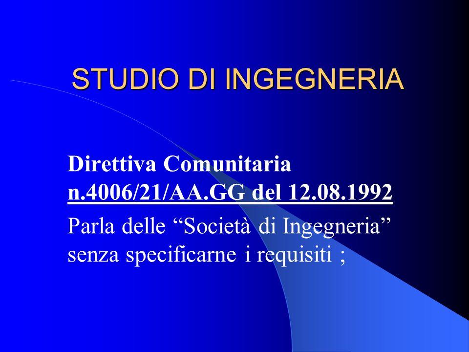 STUDIO DI INGEGNERIA Direttiva Comunitaria n.4006/21/AA.GG del 12.08.1992.