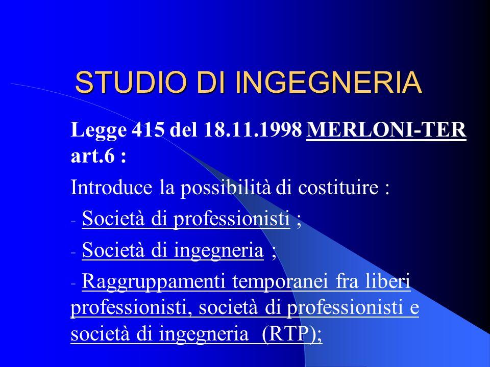 STUDIO DI INGEGNERIA Legge 415 del 18.11.1998 MERLONI-TER art.6 :